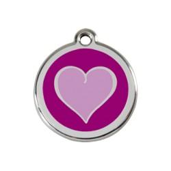 Médaille Chien Red Dingo Coeur Violet