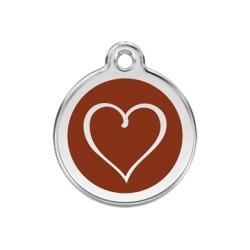 Médaille Chien Red Dingo Coeur Marron
