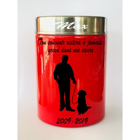 Urne funeraire animaux homme rouge